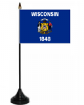 Wisconsin Desk / Table Flag with plastic stand and base.